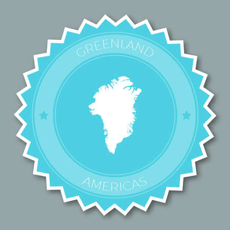 Greenland badge flat design. Round flat style sticker of trendy colors with country map and name. Country badge vector illustration.