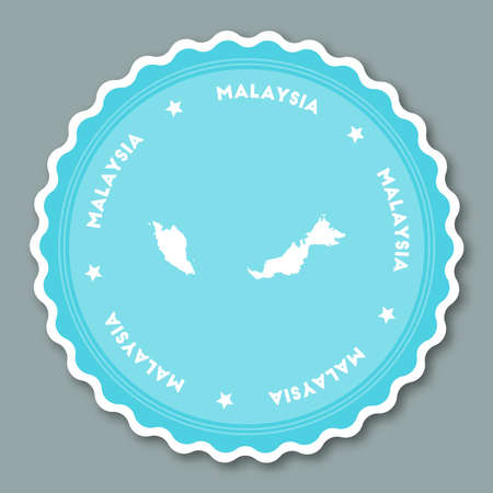 Malaysia sticker flat design. Round flat style badges of trendy colors with country map and name. Country sticker vector illustration. Illustration