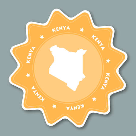 Kenya map sticker in trendy colors. Star shaped travel sticker with country name and map. Can be used as logo, badge, label, tag, sign, stamp or emblem. Travel badge vector illustration.  イラスト・ベクター素材