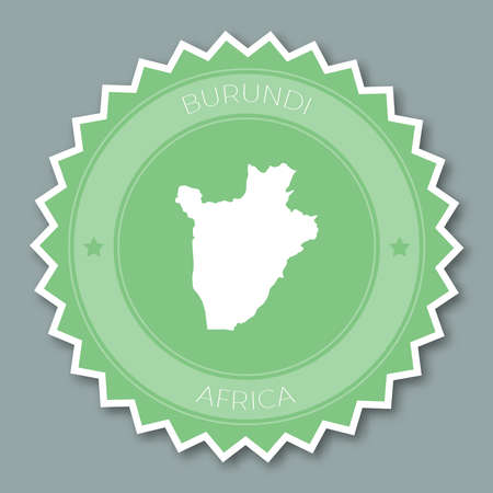 Republic of Burundi badge flat design. Round flat style sticker of trendy colors with country map and name. Country badge vector illustration. Illustration