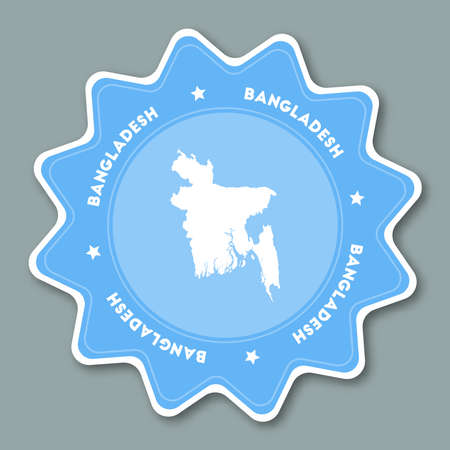 Bangladesh map sticker in trendy colors. Star shaped travel sticker with country name and map. Can be used as logo, badge, label, tag, sign, stamp or emblem. Travel badge vector illustration.