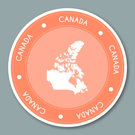Canada label flat sticker design. Patriotic country map round label. Country sticker vector illustration.