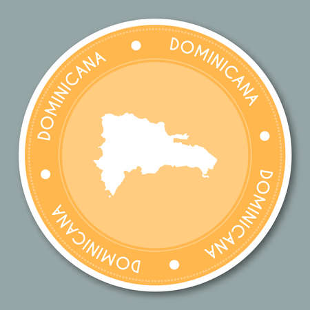 Dominican Republic label flat sticker design. Patriotic country map round lable. Country sticker vector illustration.