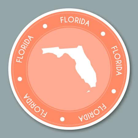 Florida label flat sticker design. Patriotic US state map round lable. Round badge vector illustration. 일러스트