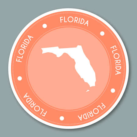 Florida label flat sticker design. Patriotic US state map round lable. Round badge vector illustration. Иллюстрация