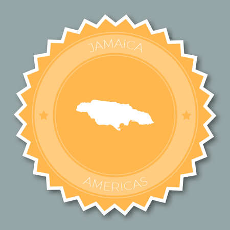 Jamaica badge flat design. Round flat style sticker of trendy colors with country map and name. Country badge vector illustration.