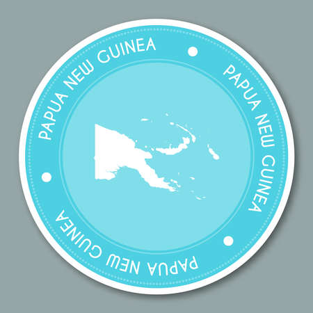 Papua New Guinea label flat sticker design. Patriotic country map round lable. Country sticker vector illustration.
