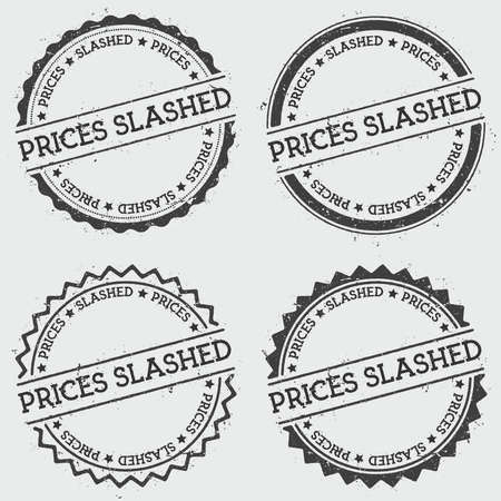 Prices slashed insignia stamp isolated on white background. Grunge round hipster seal with text, ink texture and splatter and blots, vector illustration.