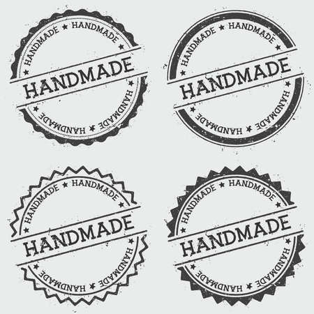 Handmade insignia stamp isolated on white background. Grunge round hipster seal with text, ink texture and splatter and blots, vector illustration.