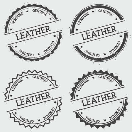 Leather Genuine insignia stamp isolated on white background. Grunge round hipster seal with text, ink texture and splatter and blots, vector illustration.