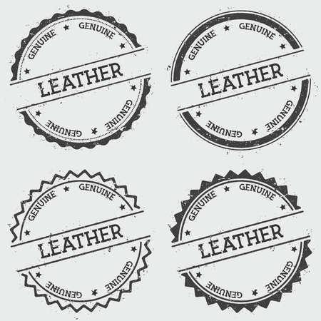 Sello de cuero genuino insignia aislado sobre fondo blanco. Sello de grunge redondo hipster con texto, textura de tinta y salpicaduras y borrones, ilustración vectorial. Ilustración de vector