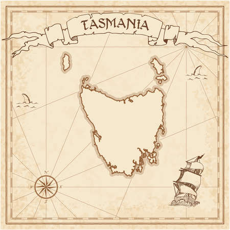 Tasmania old treasure map. Sepia engraved template of pirate island parchment. Stylized manuscript on vintage paper. Illustration