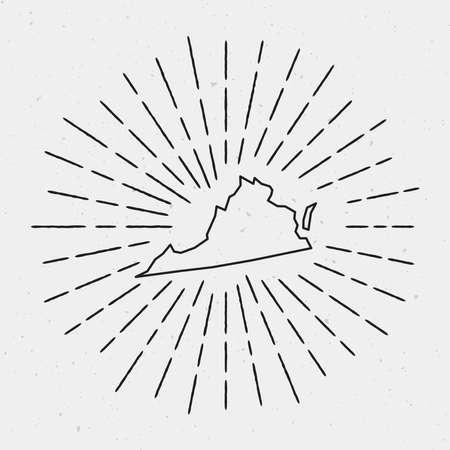 Vektor USA Karte Umriss mit Retro Sunburst Grenze. Hand gezeichnetes Hipster-Dekorationselement. Schwarze strahlende Lichtstrahlen auf weißem Hintergrund.