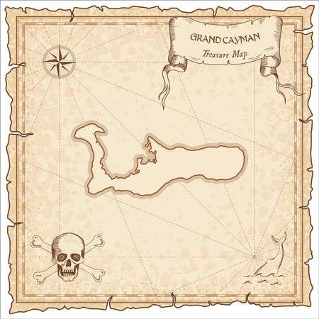 Ancienne carte de pirate de Grand Cayman. Modèle de parchemin gravé sépia de l'île au trésor. Manuscrit stylisé sur papier vintage.