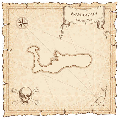 Grand Cayman old pirate map. Sepia engraved parchment template of treasure island. Stylized manuscript on vintage paper.