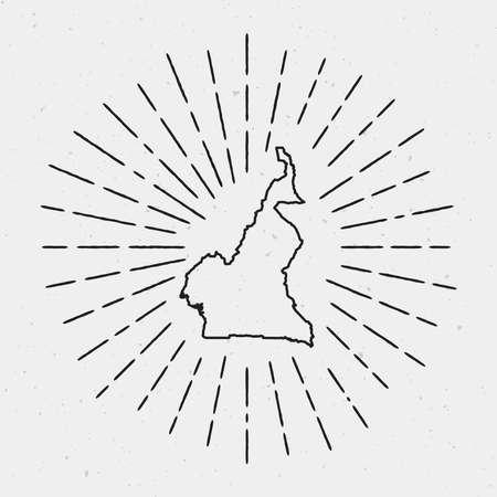 Profilo del programma del Camerun di vettore con bordo retrò Sunburst. Elemento di decorazione hipster disegnato a mano. Raggi luminosi radianti neri su cenni storici bianchi.