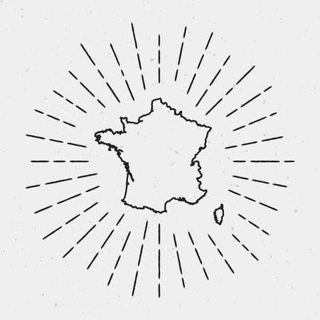 Vector France Map Outline with Retro Sunburst Border. Hand Drawn Hipster Decoration Element. Black Radiant Light Rays on White Background.