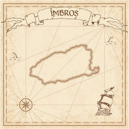 Imbros old treasure map. Sepia engraved template of pirate island parchment. Stylized manuscript on vintage paper.