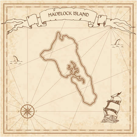 Havelock Island old treasure map. Sepia engraved template of pirate island parchment. Stylized manuscript on vintage paper.