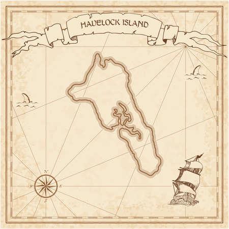 Vecchia mappa del tesoro dell'isola di Havelock. Modello inciso seppia di pergamena dell'isola dei pirati. Manoscritto stilizzato su carta vintage.