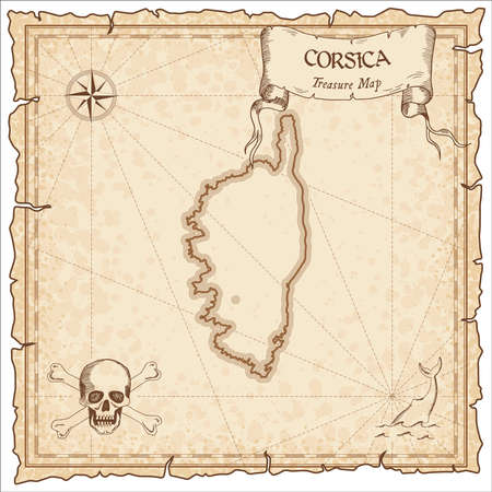 Corsica old pirate map. Sepia engraved parchment template of treasure island. Stylized manuscript on vintage paper.