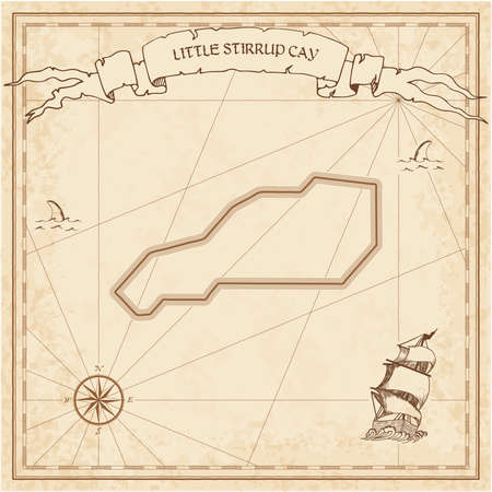 Little Stirrup Cay old treasure map. Sepia engraved template of pirate island parchment. Stylized manuscript on vintage paper.