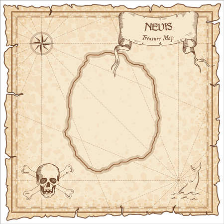 Nevis old pirate map. Sepia engraved parchment template of treasure island. Stylized manuscript on vintage paper. Banque d'images - 105609056