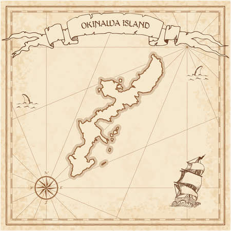 Okinawa Island old treasure map. Sepia engraved template of pirate island parchment. Stylized manuscript on vintage paper.