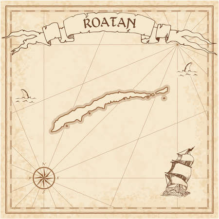 Roatan old treasure map. Sepia engraved template of pirate island parchment. Stylized manuscript on vintage paper. Illustration