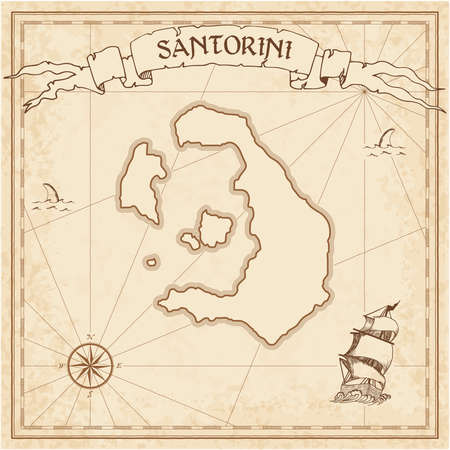 Santorini old treasure map. Sepia engraved template of pirate island parchment. Stylized manuscript on vintage paper. Illusztráció