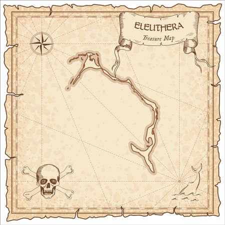 Vecchia mappa dei pirati Eleuthera. Modello di pergamena incisa seppia dell'isola del tesoro. Manoscritto stilizzato su carta vintage. Vettoriali