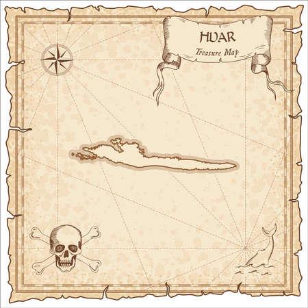 Hvar alte Piratenkarte. Sepia gravierte Pergamentschablone der Schatzinsel. Stilisiertes Manuskript auf Vintage-Papier.