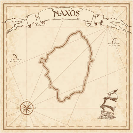 Naxos old treasure map. Sepia engraved template of pirate island parchment. Stylized manuscript on vintage paper.