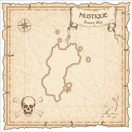 Mustique old pirate map. Sepia engraved parchment template of treasure island. Stylized manuscript on vintage paper.
