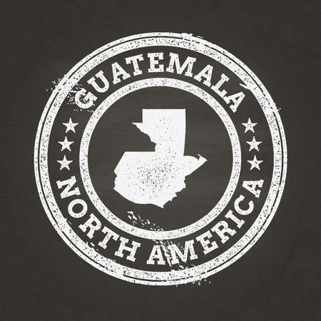 White chalk texture grunge stamp with Republic of Guatemala map on a school blackboard. Grunge rubber seal with country map outline, vector illustration.