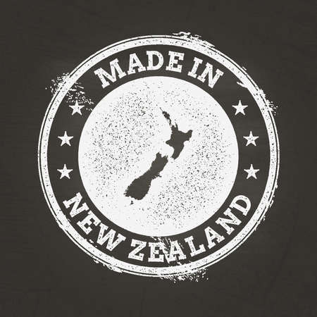 White chalk texture made in stamp with New Zealand map on a school blackboard. Grunge rubber seal with country map outline, vector illustration.