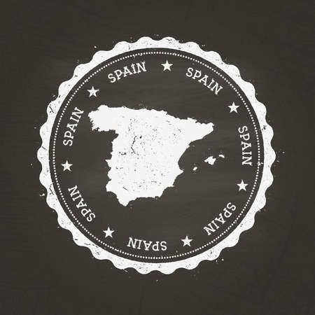 White chalk texture rubber stamp with Kingdom of Spain map on a school blackboard. Grunge rubber seal with country map outline, vector illustration.