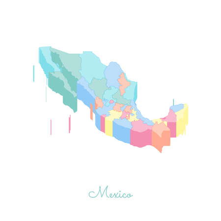 Mexico region map: colorful isometric top view. Detailed map of Mexico regions. Vector illustration. 矢量图像