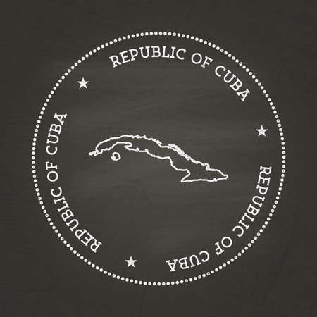 White chalk texture vintage seal with Republic of Cuba map on a school blackboard. Grunge rubber seal with country map outline, vector illustration.
