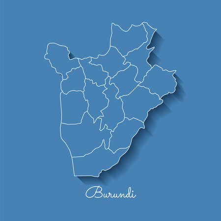 Burundi region map: blue with white outline and shadow on blue background. Detailed map of Burundi regions. Vector illustration.