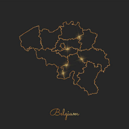 Belgium region map: golden glitter outline with sparkling stars on dark background. Detailed map of Belgium regions. Vector illustration. Ilustração