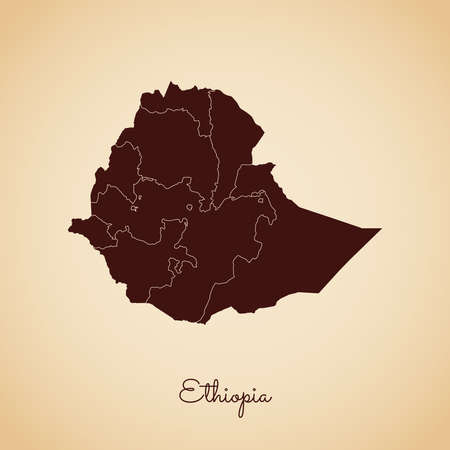 Ethiopia region map: retro style brown outline on old paper background. Detailed map of Ethiopia regions. Vector illustration.