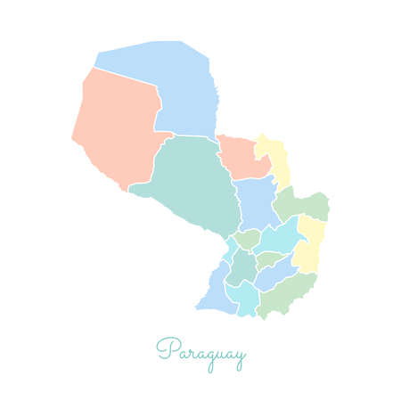 Paraguay region map: colorful with white outline. Detailed map of Paraguay regions. Vector illustration. Illustration