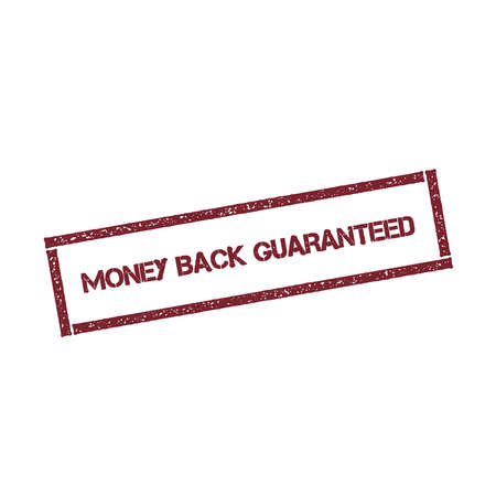 Money back guaranteed rectangular stamp. Textured red seal with text isolated on white background, vector illustration.