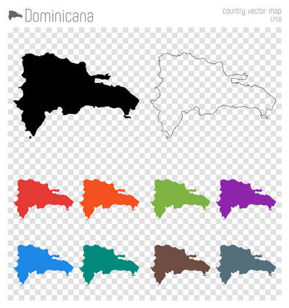 Dominicana high detailed map. Country silhouette icon. Isolated Dominicana black map outline. Vector illustration. Ilustração