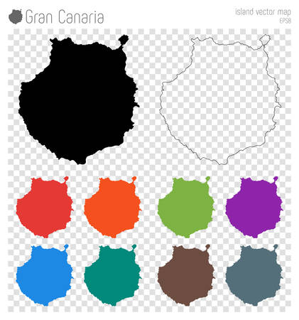 Gran Canaria high detailed map. Island silhouette icon. Isolated Gran Canaria black map outline. Vector illustration.
