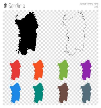 Sardinia high detailed map. Island silhouette icon. Isolated Sardinia black map outline. Vector illustration.