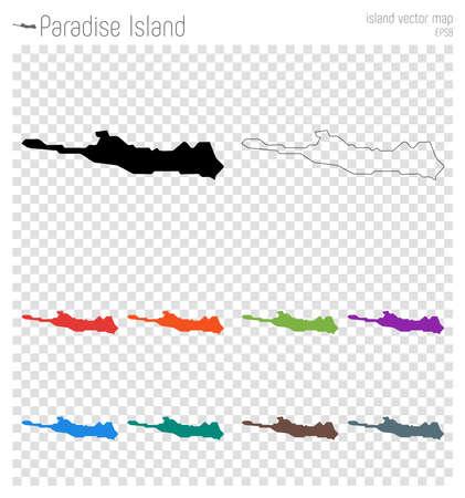 Paradise Island high detailed map. Island silhouette icon. Isolated Paradise Island black map outline. Vector illustration. Ilustrace