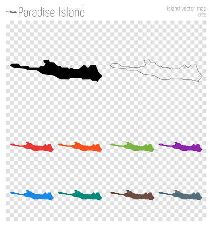 Paradise Island high detailed map. Island silhouette icon. Isolated Paradise Island black map outline. Vector illustration. Illustration