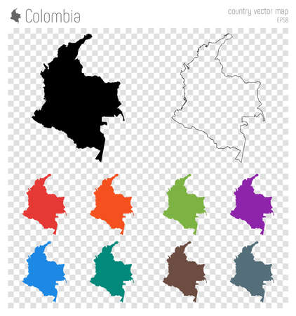 Colombia high detailed map. Country silhouette icon. Isolated Colombia black map outline. Vector illustration. Vettoriali